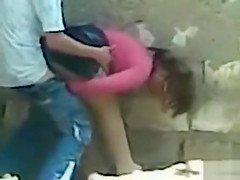 Pounding his girlfriend doggystyle in public