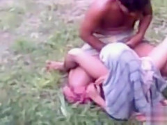 Indian girl fucked in the grass by desperate guy