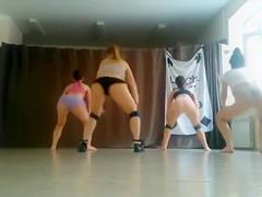 Four girls practice their twerking routine