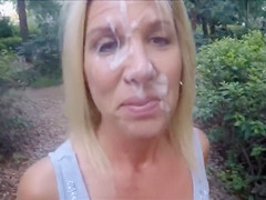 Wife drives and goes shopping with my cum on her face
