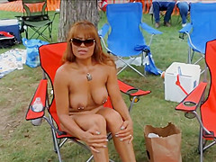 Pierced mature nudists show everything off at the resort