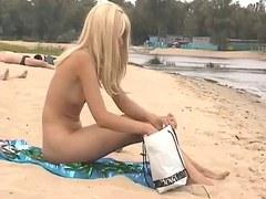 Stripped Beach - Cute tall Blonde