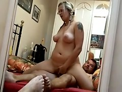 Golden-Haired girl rides a pecker facing a mirror - Homemade