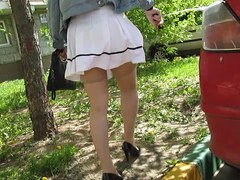 Nylons upskirt in windy day