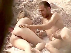 Undressed Beach - Sexy cute golden-haired pair play