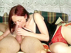Vivacious lady in tight red panties pleases a long pole wit