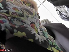 Hawt bus upskirt movie with lace straps