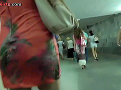 Incredibly hot blond upskirt movie