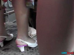 Amazing upskirt closeup footage