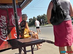 Fresh outdoor upskirt vid with hawt blond