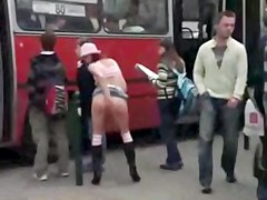 Doxy Stripped and Stroking at Public Bustop OMFG!