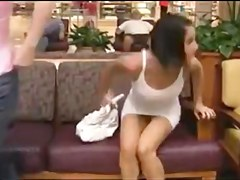 two Beauties flashing in mall