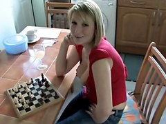Downblouse Playing Chess three