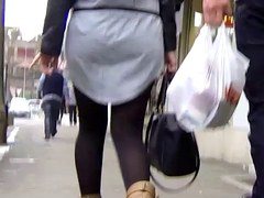 Candid - Juvenile Hottie in Short Suit And Nylons