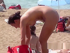 Hot Naked Blonde Nudist Milf Showering Voyeur Beach Spy