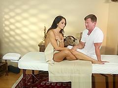 Busty milf tittyfucked on the massage table