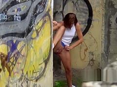 Desperate girls must pee in public park but get caught