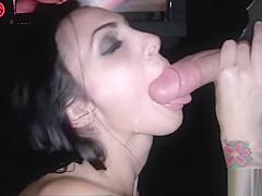 Sexy Brunette Sucks Big Cock in Gloryhole