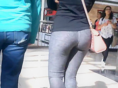 College Teen Tight Jiggly Ass in Grey Spandex