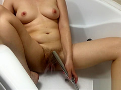 Water Jet Masturbation Hairy Pussy in Bathroom