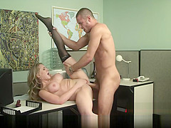 Blonde secretary gives her boss her proposal & a quick fuck