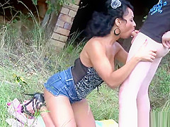 Young lovers fuck in front of a perverse tramp