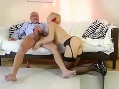 Older guy anals slut in stockings then gets handjob
