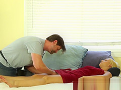 Bigtitted milf banged after massage