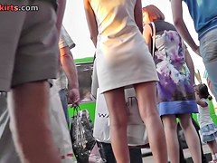 Real street upskirt with a gracious golden-haired