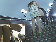 Eye-catching upskirt on the stairs