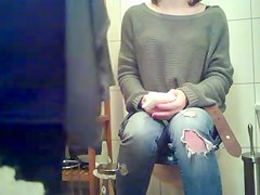Gals on Toilets - Hot Blond Cum-Hole Frontal