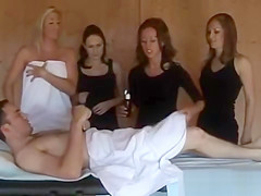 Steamy action in sauna with horny babes