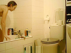 College Teen Brunette Spy Bathroom Part 2
