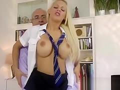 Lucky older man fucks blonde babe in schoolgirl costume