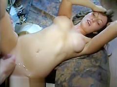 Big Tit Brunette Gets Cum Spray From College Boyfriend