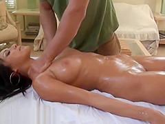 Masseur Gives Big Tits Of Hot Brunette Slut Sensual Workout