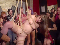 Public rope suspension and fucking