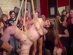 Public rope suspension and fucking