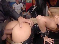 Petite slut in anal gangbang in a bar