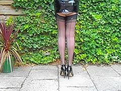Pvc Latex Minidress And Seamed Nylon Stockings