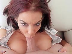 Classy big boobed mature stepmom blows my big cock