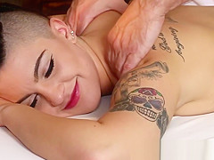 Raven massage client eats amateur cock