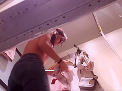 Amazingly Large Boobs 2 of 2 Changing Room Fitting Dressing