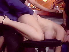 Euro slut fucked and cummed in public bar