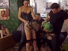 Mistress in leather disgraces Euro slut