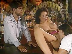 Brunette babe gets banged at the bar