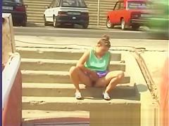 peeing on the street
