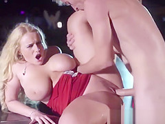 Busty squirting blonde stripper pussyfucked on stage by guy