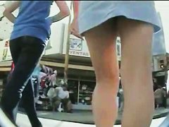 Sexy up skirt girls ass in mini skirt captured by a voyeur