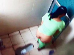 Indian ladies filmed on spy cam in a public toilet